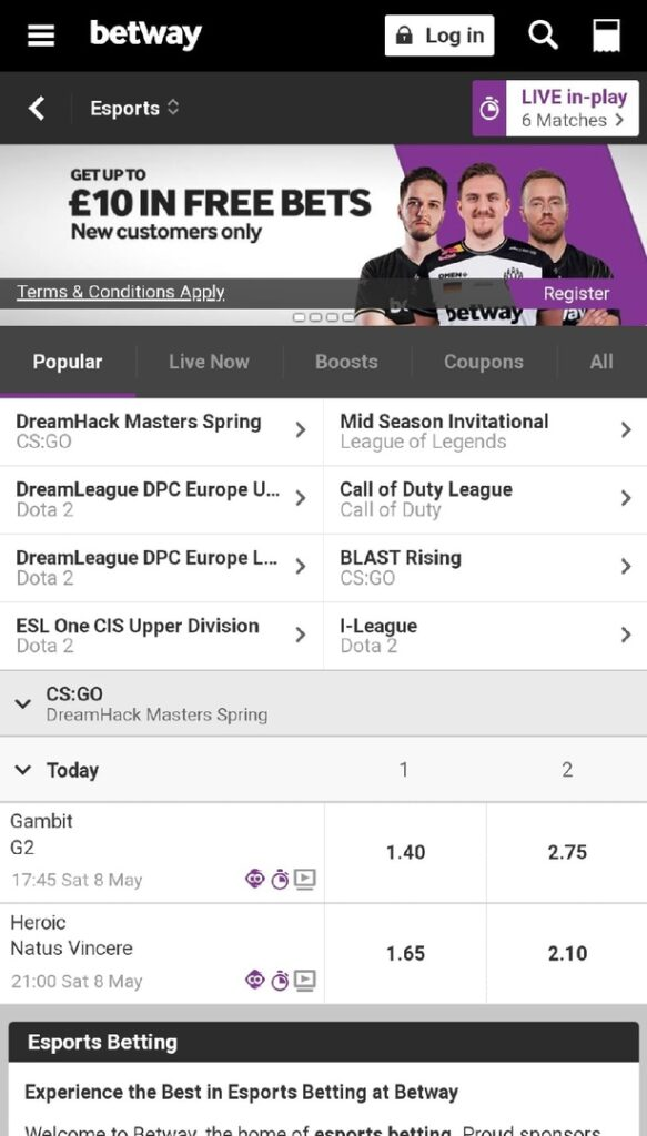 betway esport betting