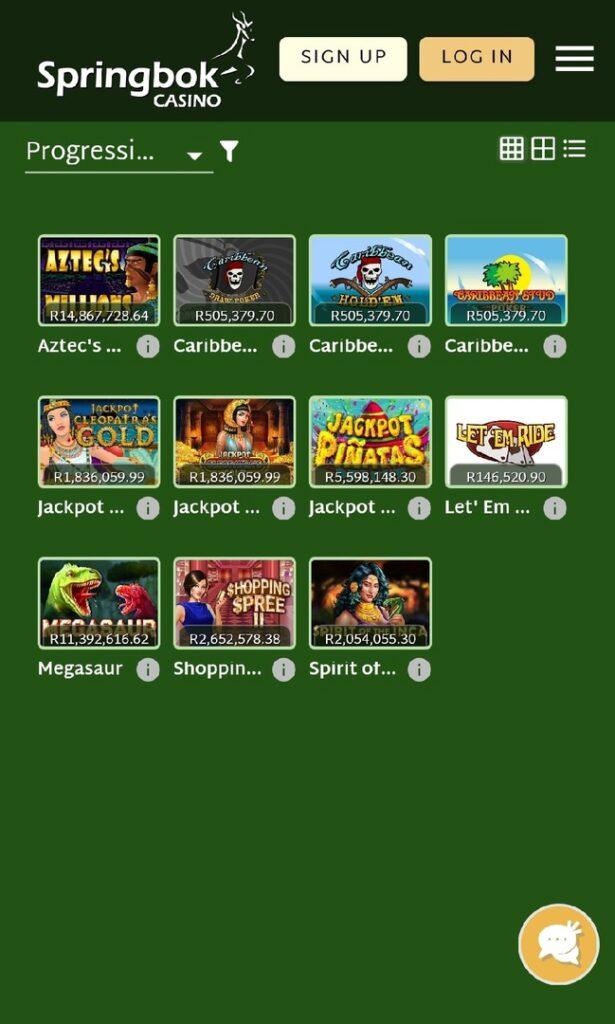 Mobile Springbok Progressive Games