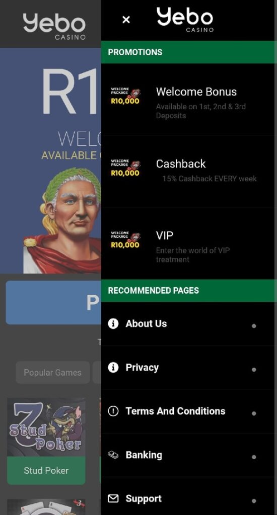 Yebo Casino App for Android