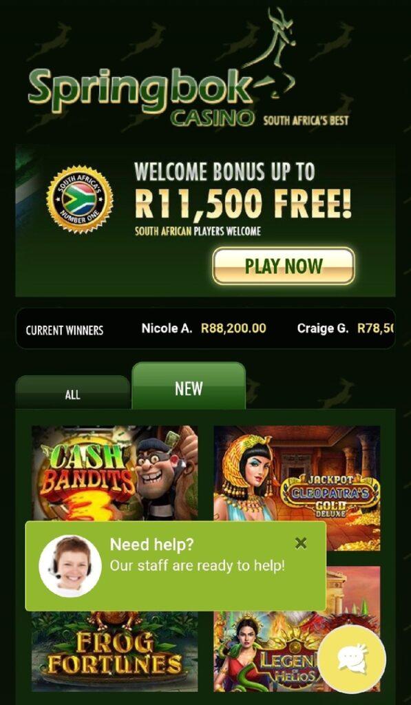 Springbok Mobile Casino in South Africa