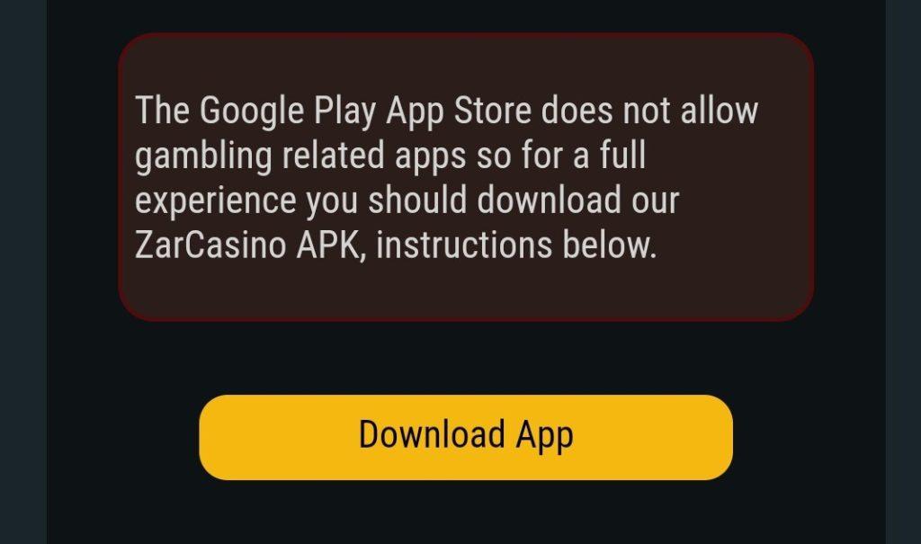 ZAR Casino App Download