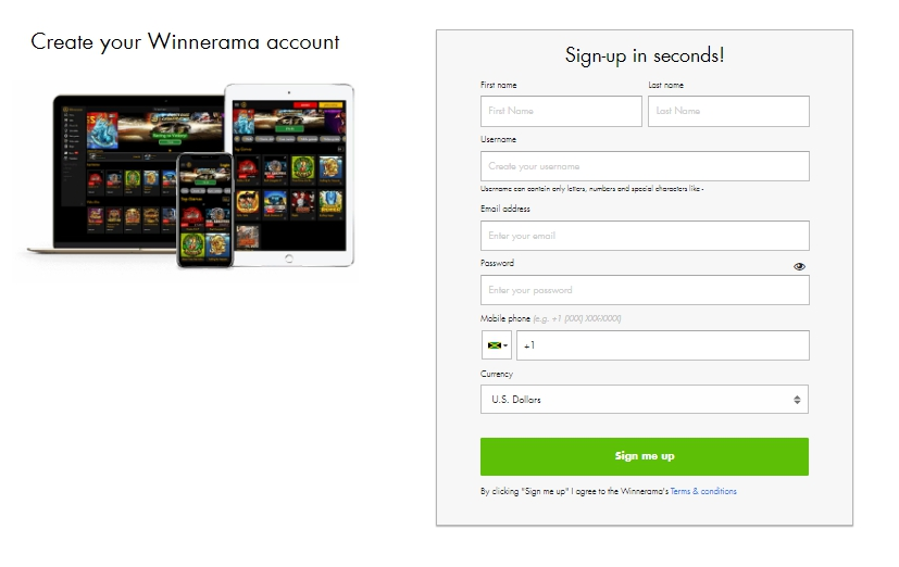 Winnerama Casino Registration